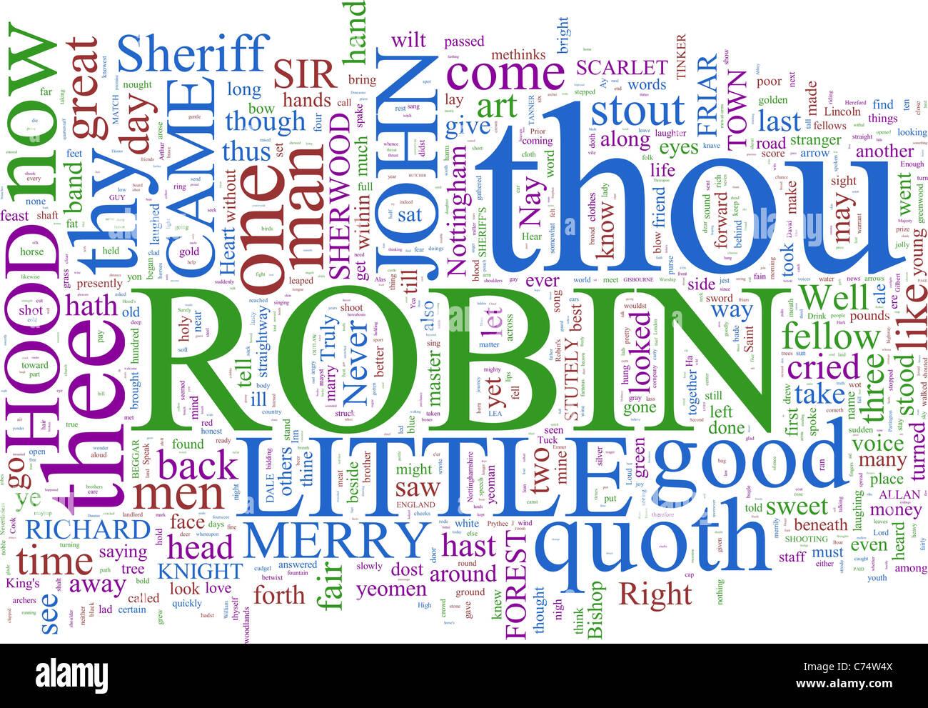A word cloud based on Robin Hood - Stock Image
