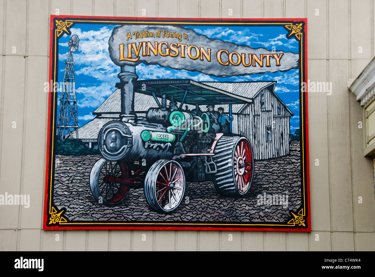 Mural of steam traction engine, Livingston County, Walldog Mural Project, Route 66, Pontiac, Illinois, USA - Stock Image