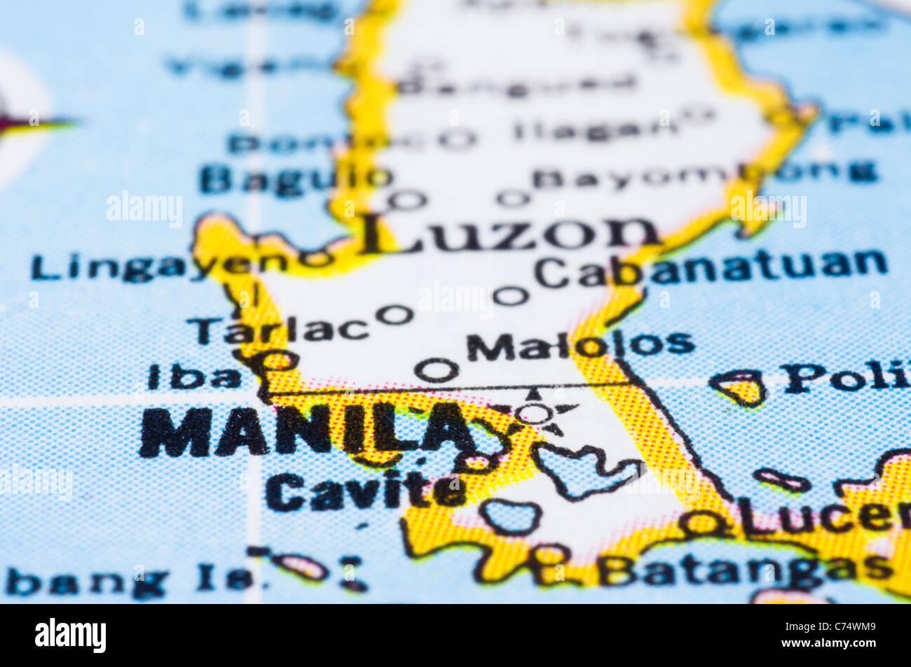 a close up shot of Manila on map, capital of philippines Stock Photo ...