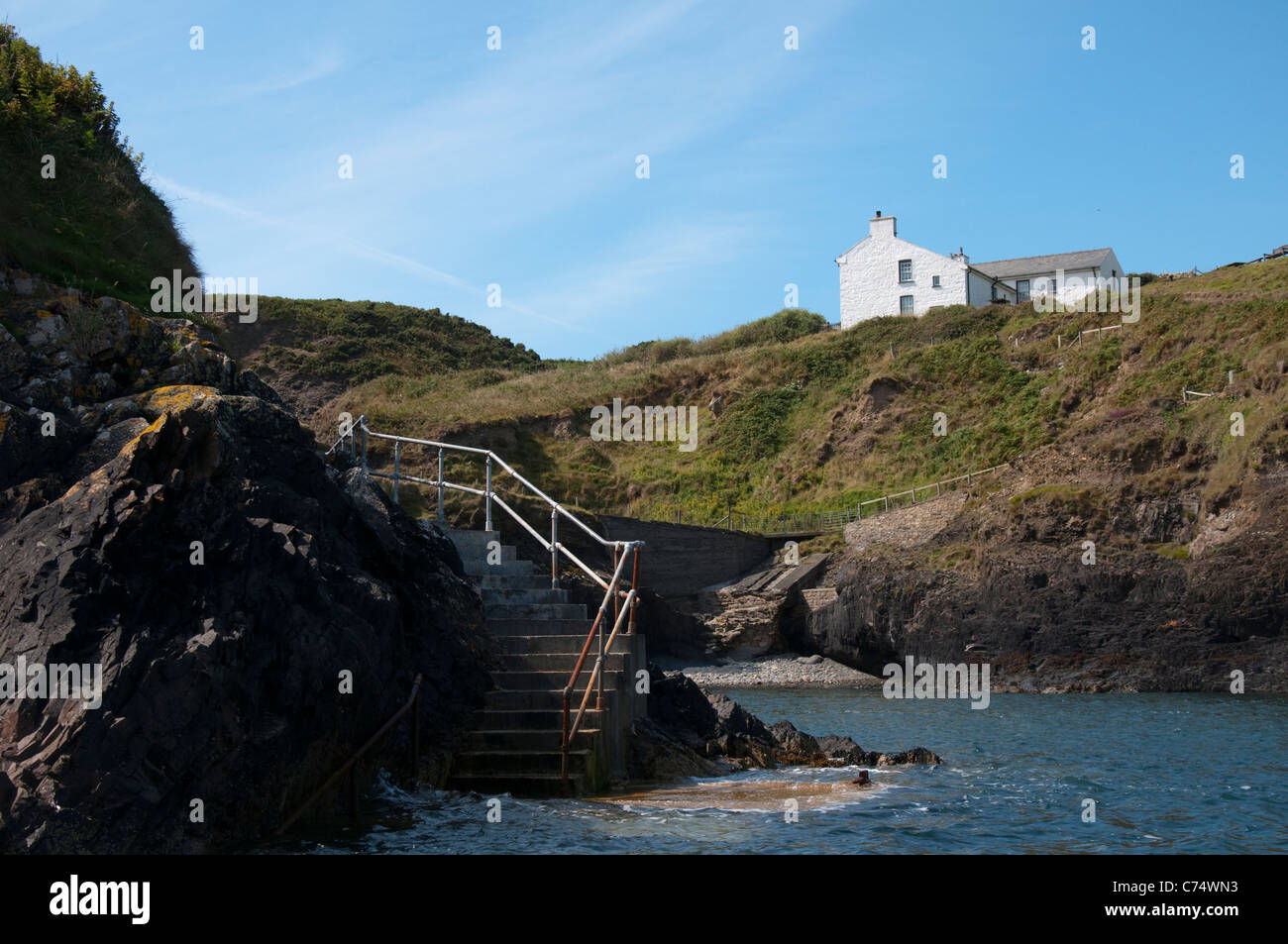 The only house on Ramsey Island in Pembrokeshire, Wales UK - Stock Image