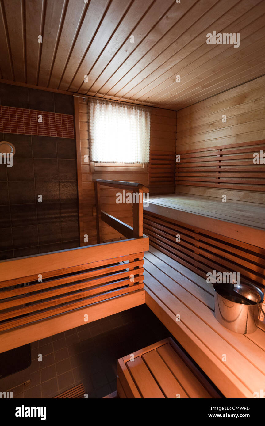 Inside a typical Finnish sauna - Stock Image
