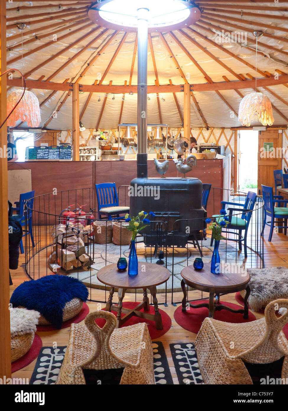 Interior Of A Restaurant In A Traditional Mongolian Yurt At Thornham  Norfolk UK