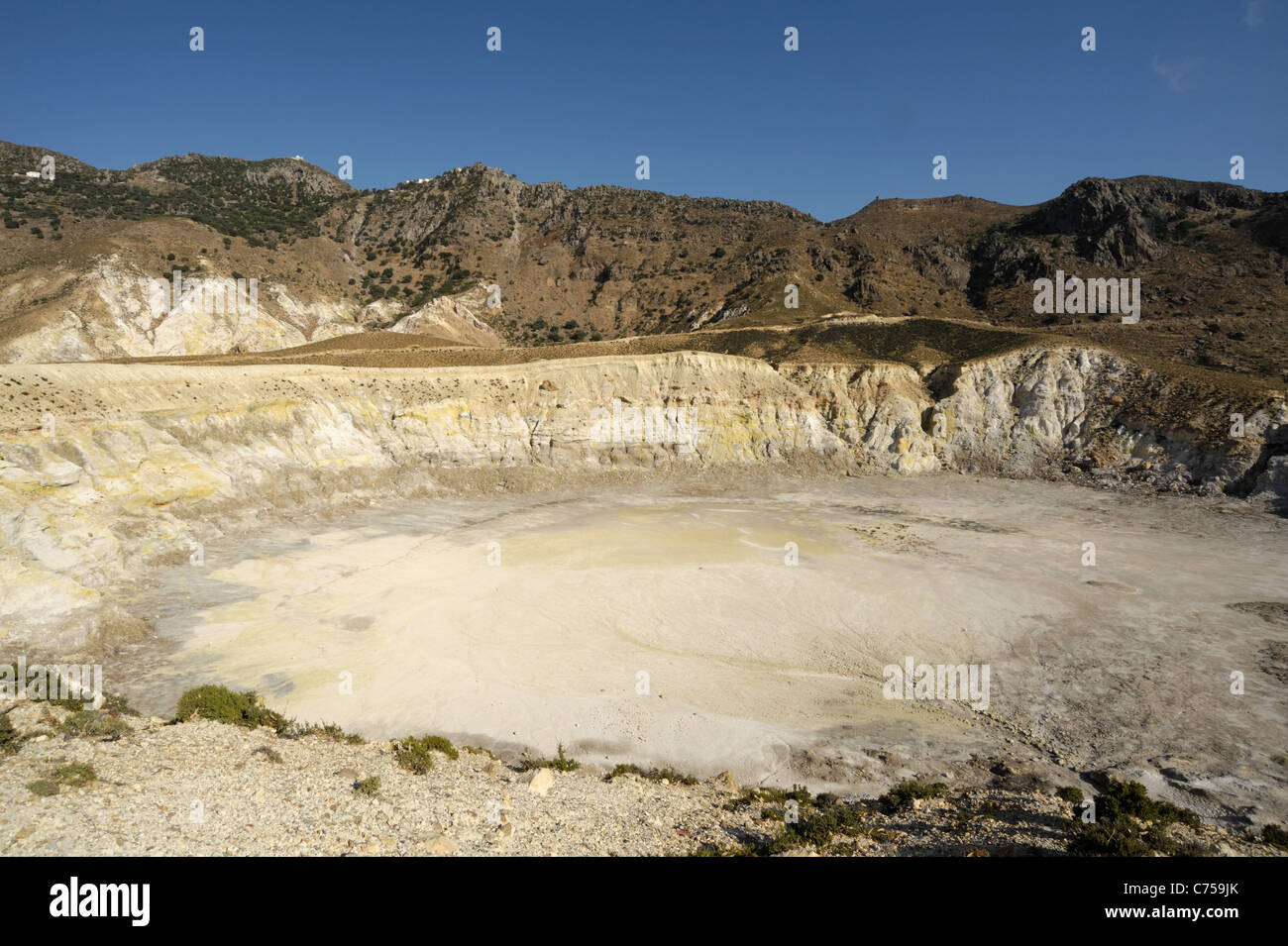 Caldera of Stephanos volcano with its fumaroles on Nisyros in the Aegean Greek Islands - Stock Image
