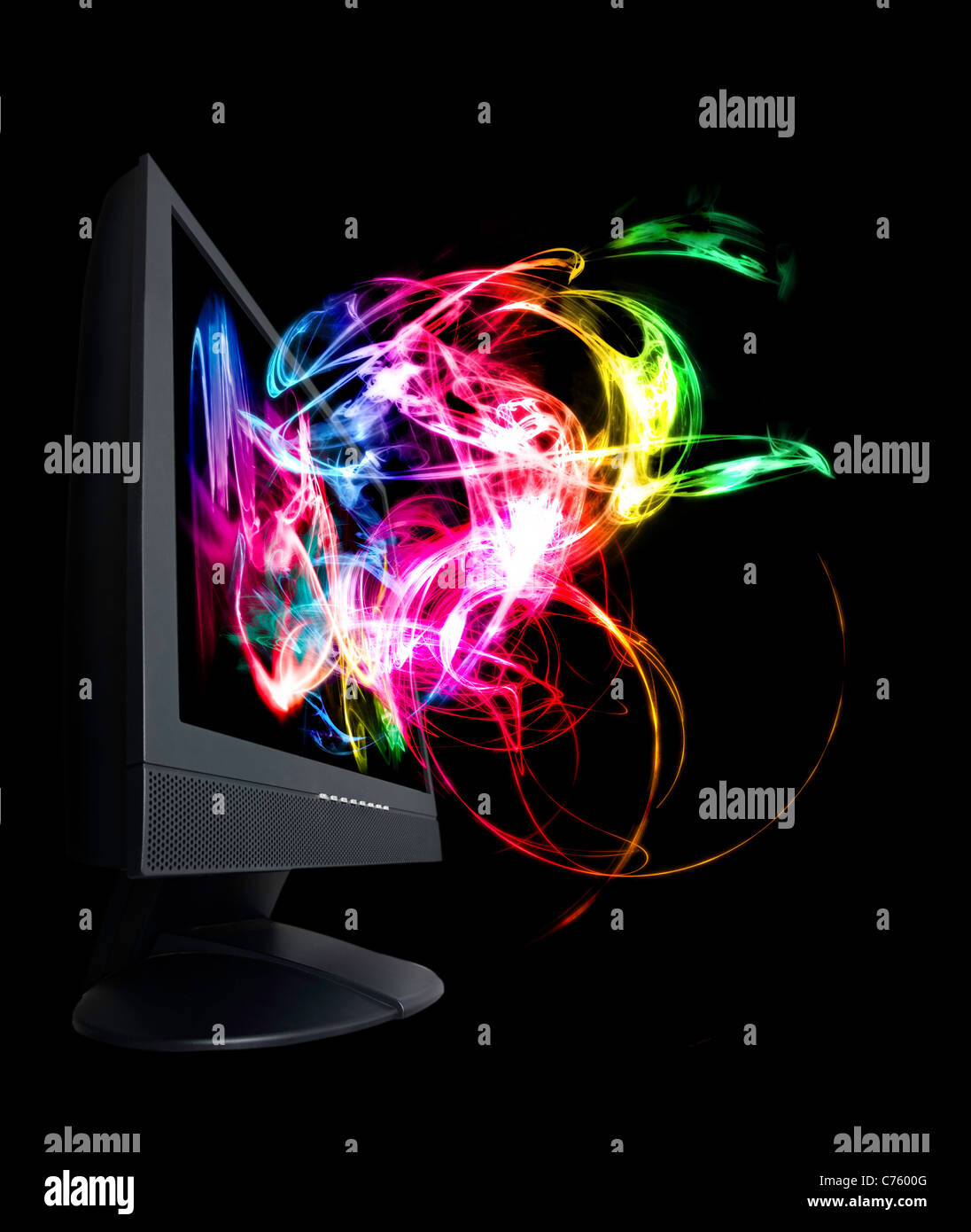Monitor full of colorful and magical waves. - Stock Image