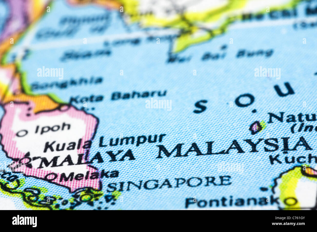 malaysia close up on map southeast asia countries