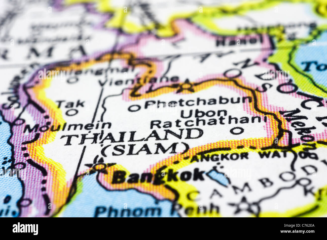 thailand close up on map, asia country Stock Photo: 38857010 ...