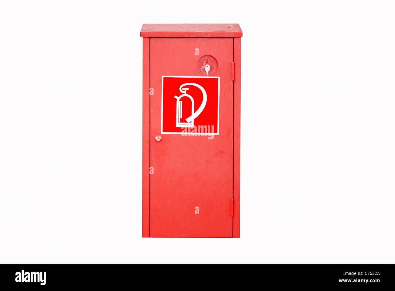 Extinguisher box isolated on white background - Stock Image