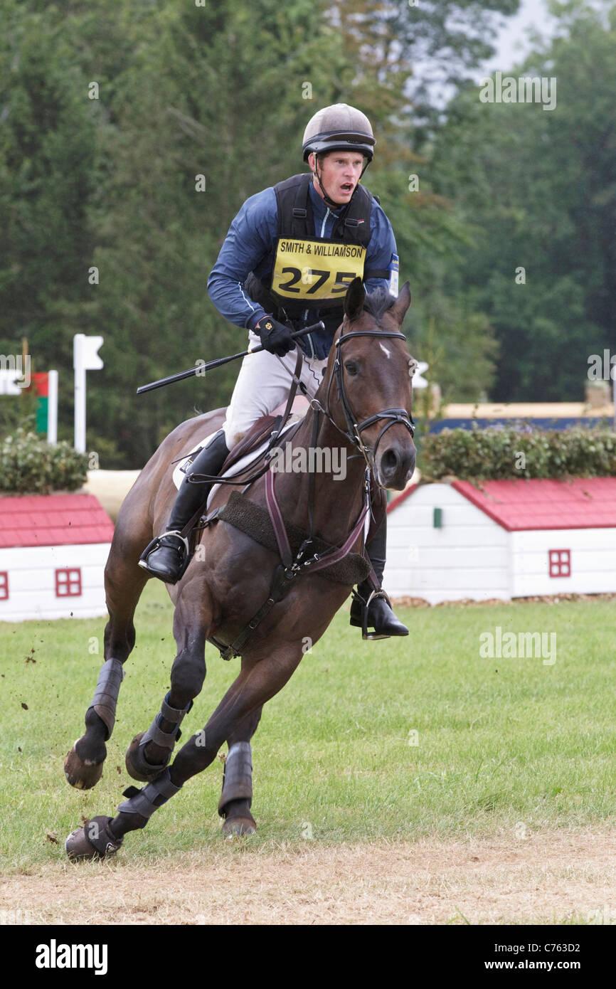 Angus Smales riding Clover Hero -Winners British Intermediate Championship Gatcombe 2011 - Stock Image