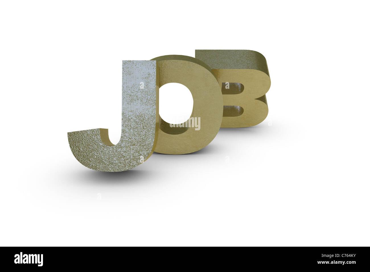 Job letter written in gold - Stock Image