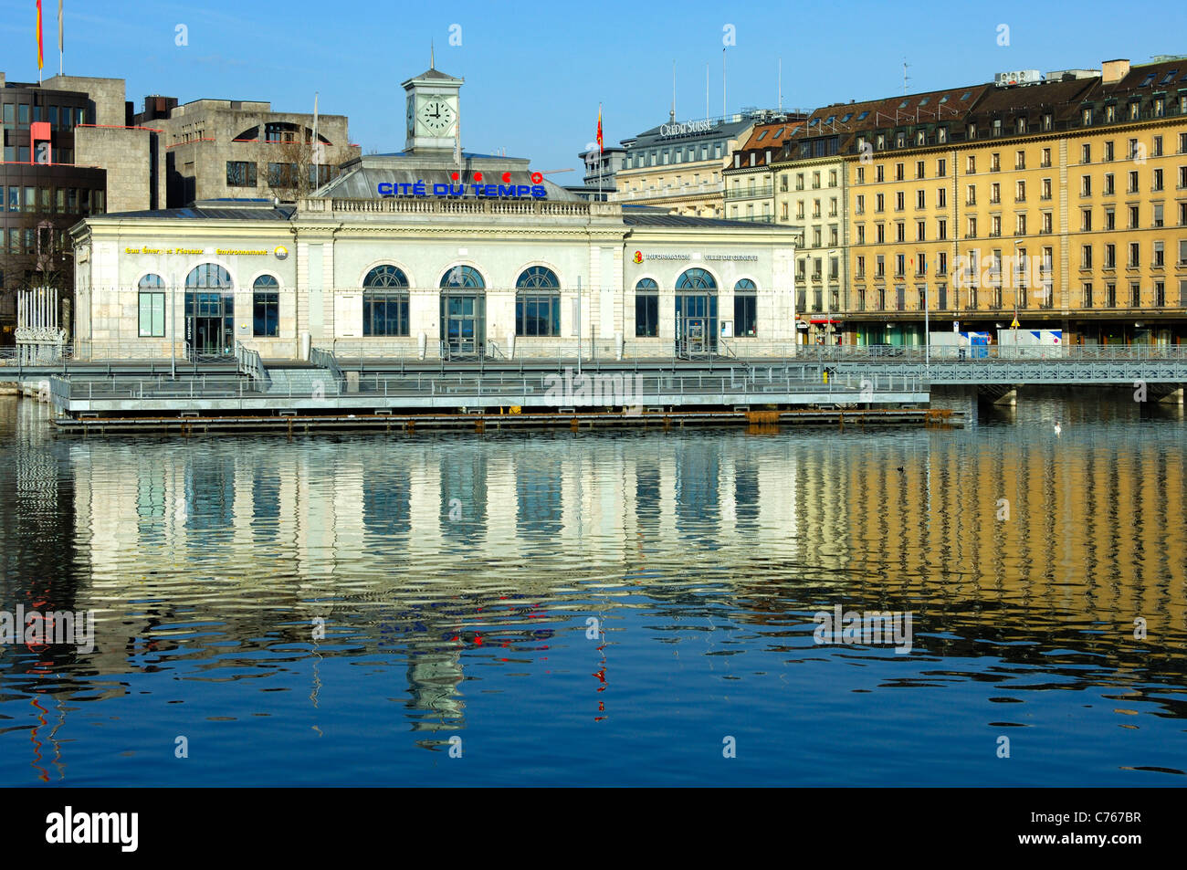 Exhibition center Cité du Temps on the bridge Pont de la machine at Lake Geneva, Geneva, SwitzerlandSwitzerland - Stock Image
