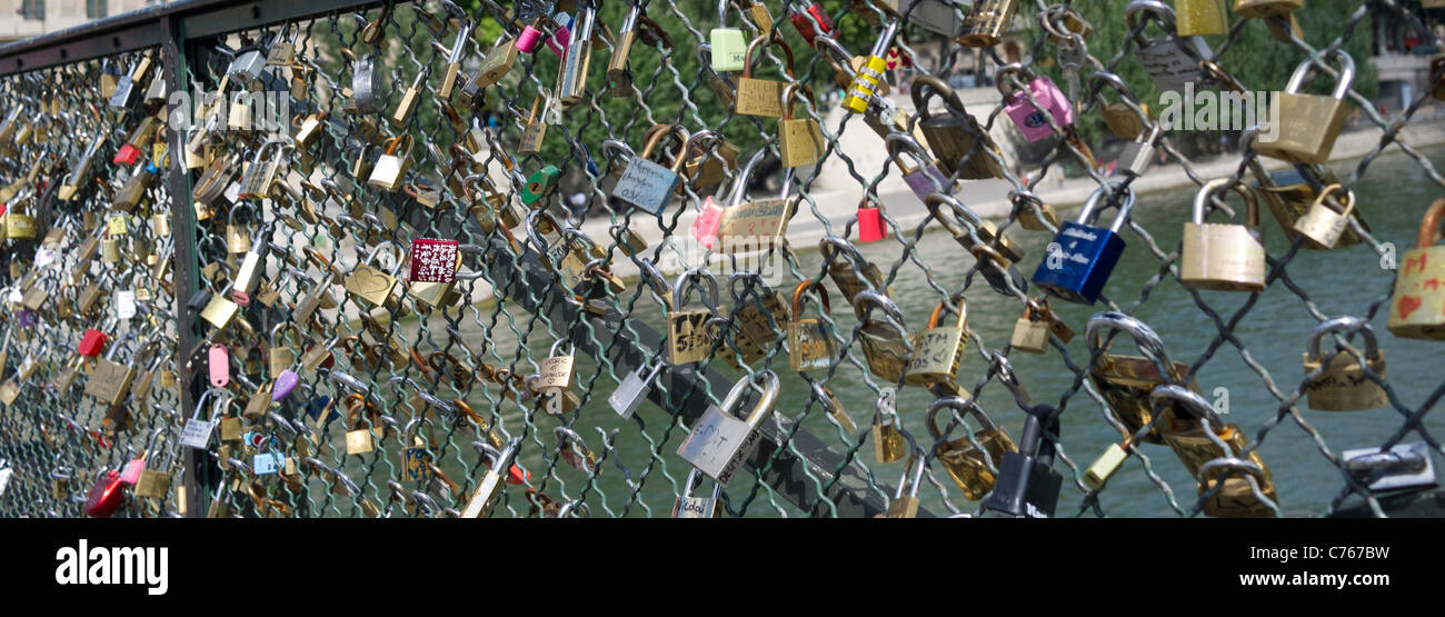 Love padlocks on the Pont Des Arts Bridge, Paris France - Stock Image