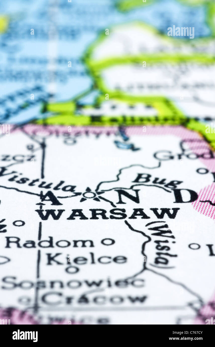 Capital Of Poland Map.A Close Up Of Warsaw On Map Capital Of Poland Stock Photo 38860891