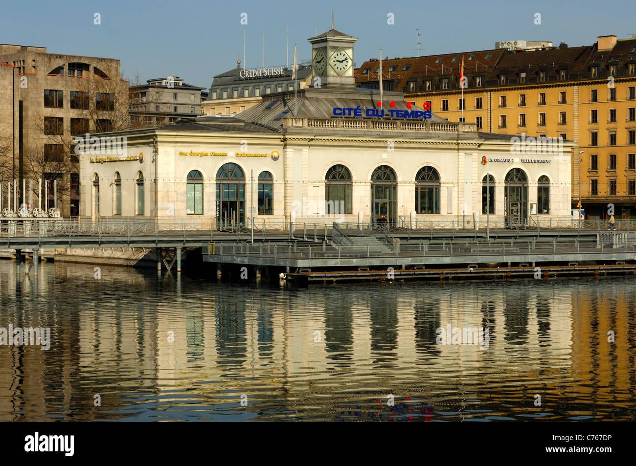 Exhibition center Cité du Temps on the bridge Pont de la machine, Geneva, Switzerland - Stock Image