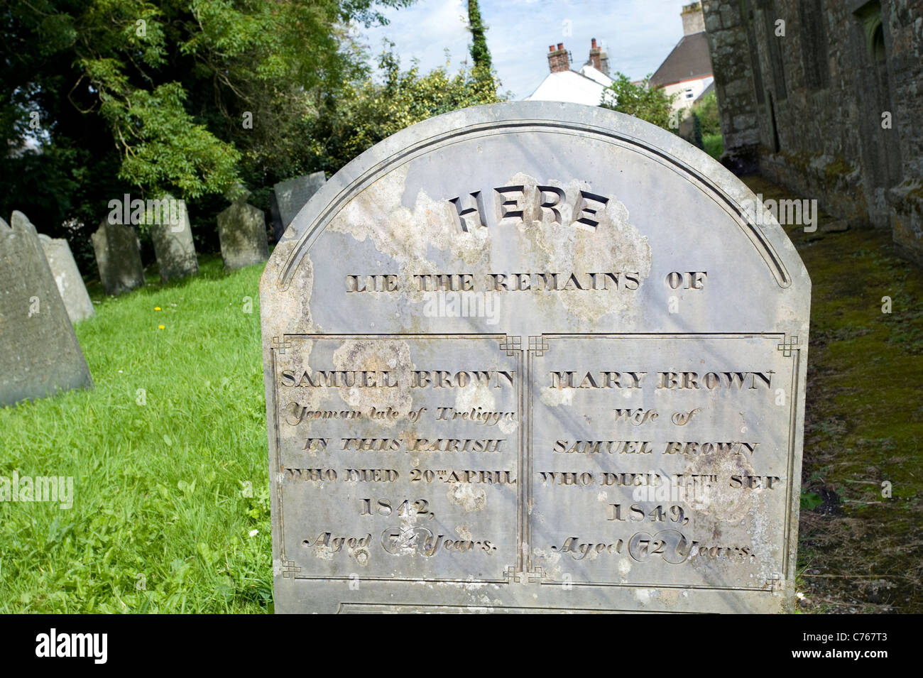 'HERE Lie the remains' Cornish slate gravestone in the church of St Tetha in St Teath village, Cornwall, - Stock Image