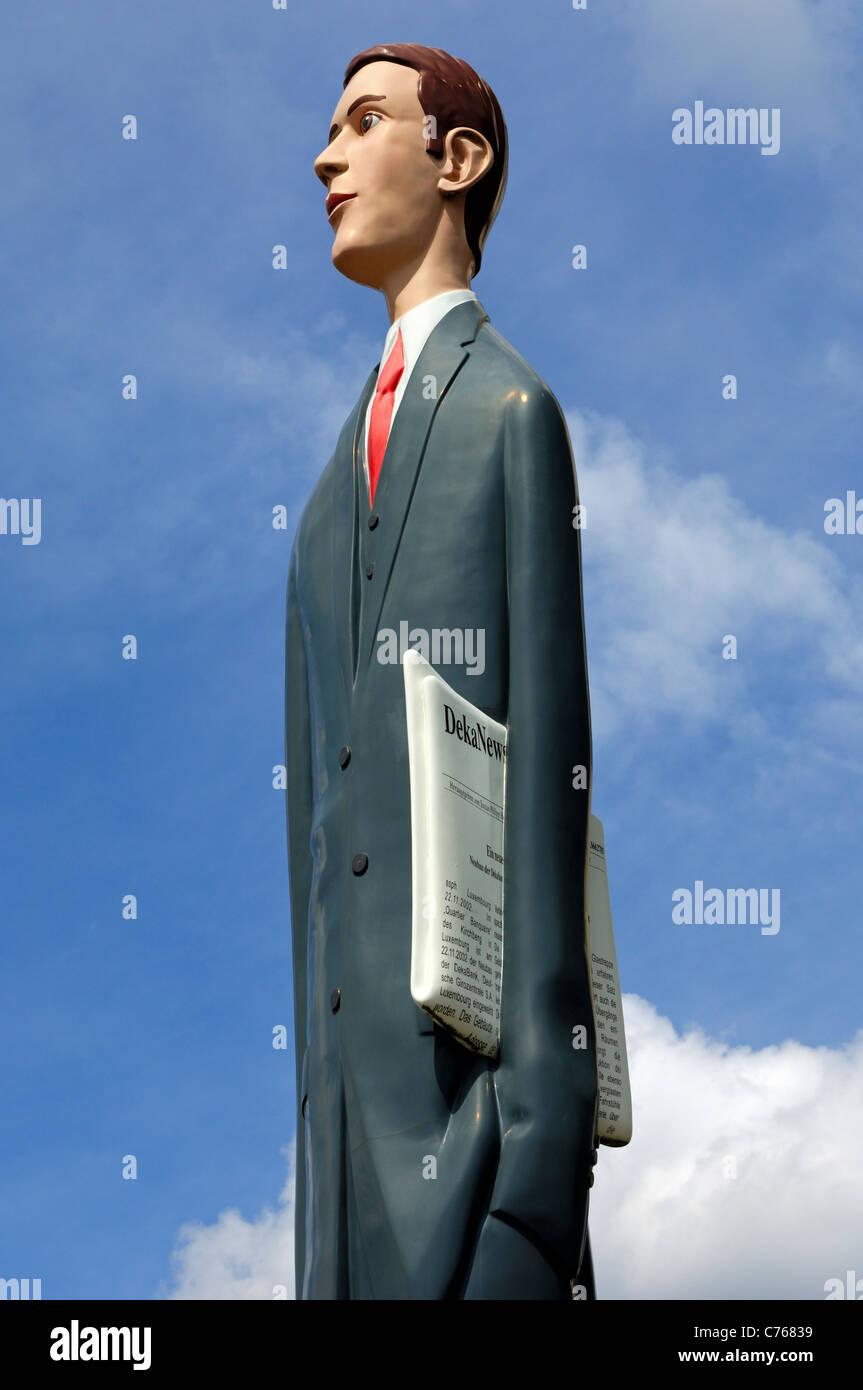 Sculpture The Tall Banker in the financial district on the Kirchberg Plateau, Luxembourg - Stock Image