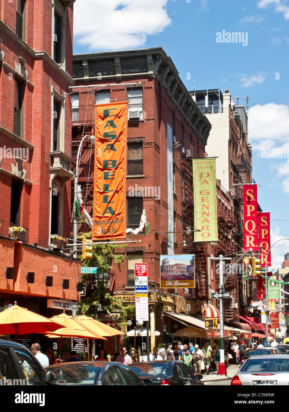 Mulberry Street, Little Italy, NYC - Stock Image