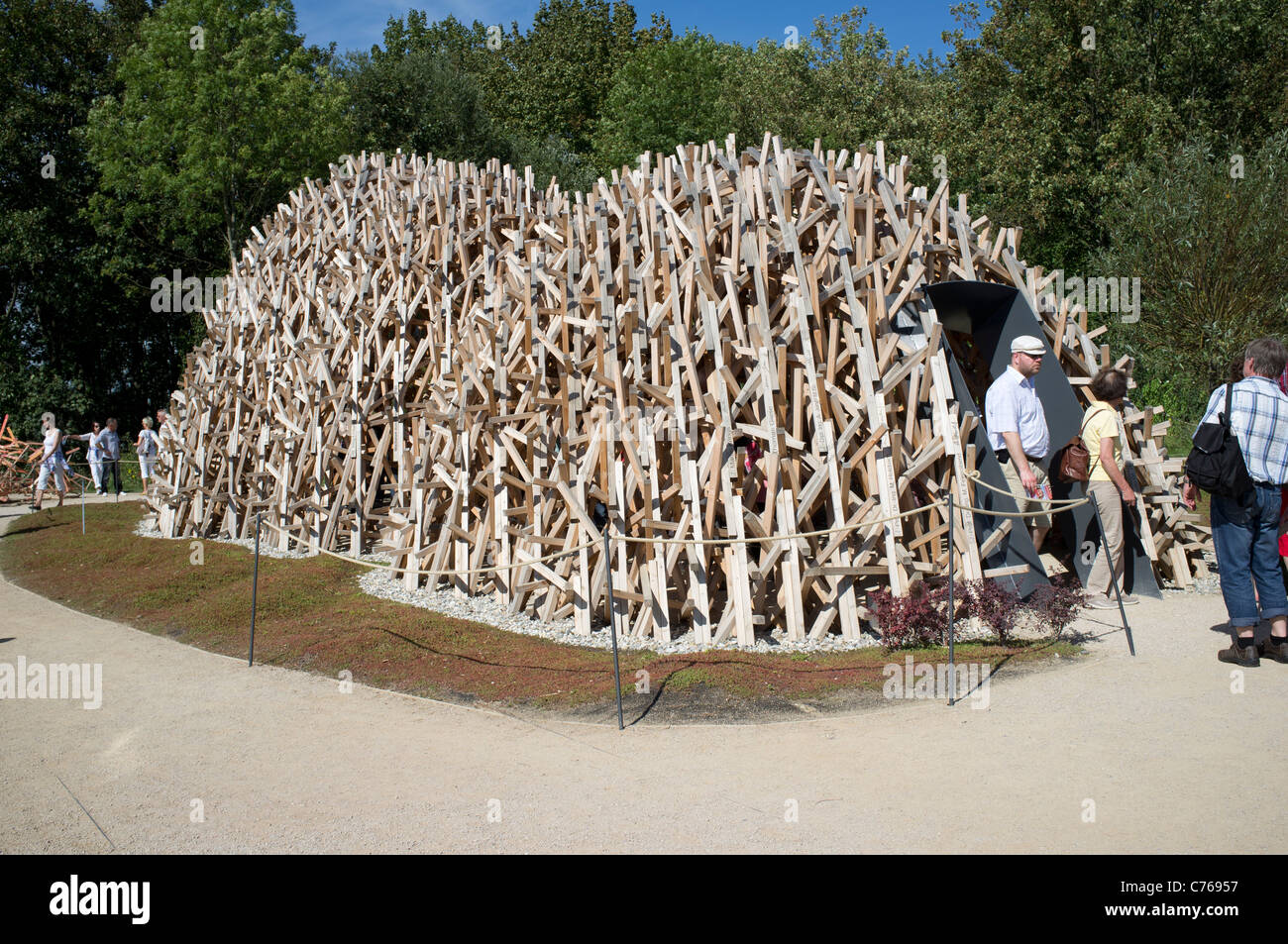 Special exhibit of wooden structure in Diversity of life display at the Federal Horticultural Show or BUGA Koblenz - Stock Image