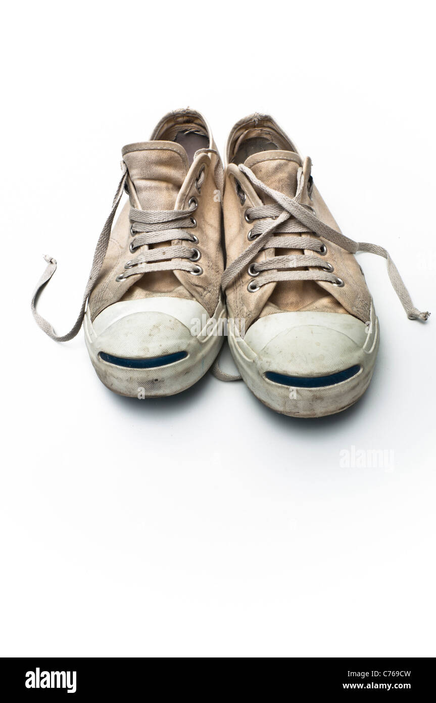 2d6fcc6e5ee673 Converse Jack Purcell tennis shoes on a white background - Stock Image