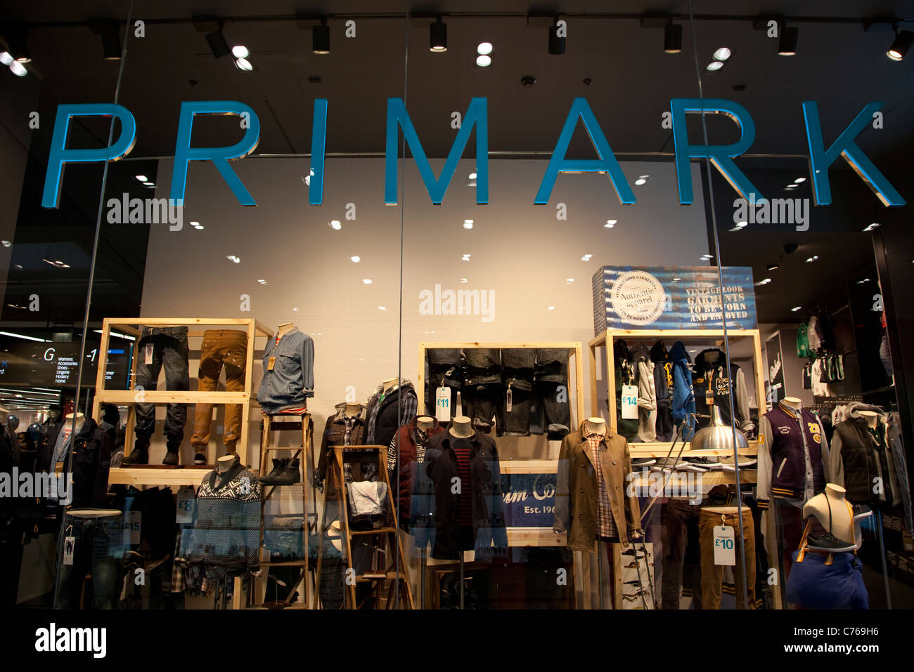 Westfield Stratford City shopping centre, London - Primark window display - Stock Image