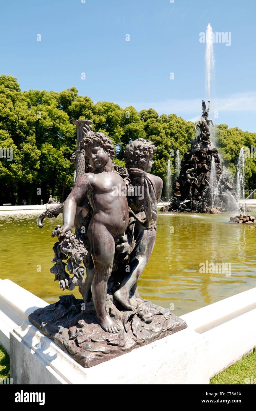 Schloss Herrenchiemsee Palace with Fama Fountain Figure, Herreninsel Upper Bavaria Germany - Stock Image