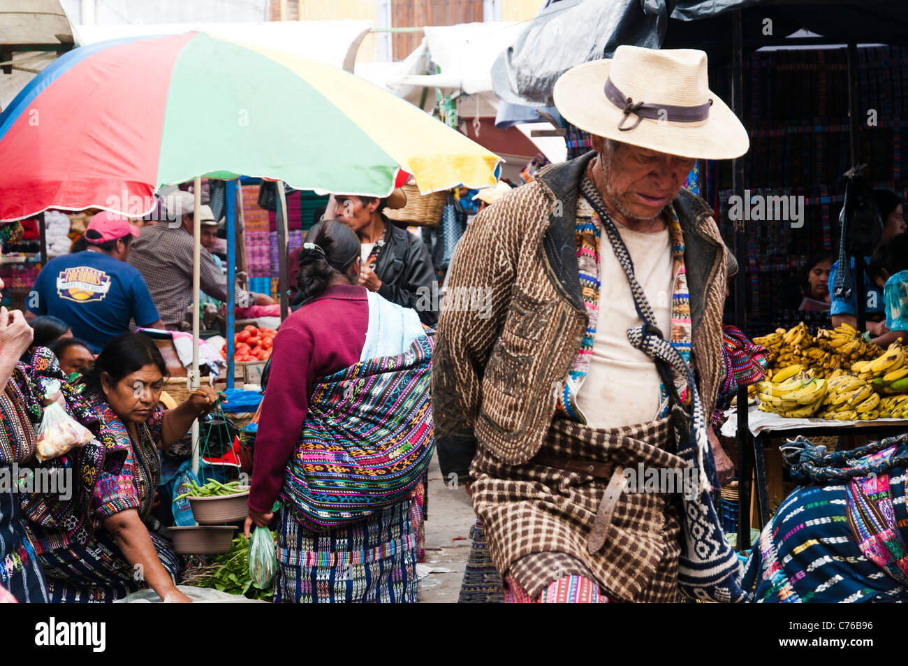 inside the traditional Solola Market, Guatemala, Central America - Stock Image