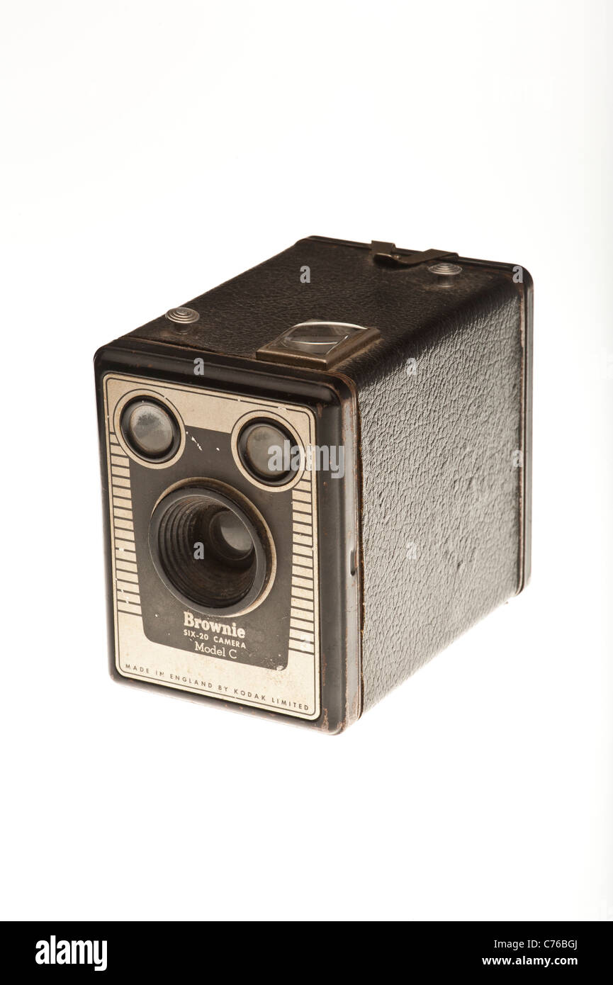 A old kodak box brownie Six-20 Model C film camera from the 1950s - Stock Image