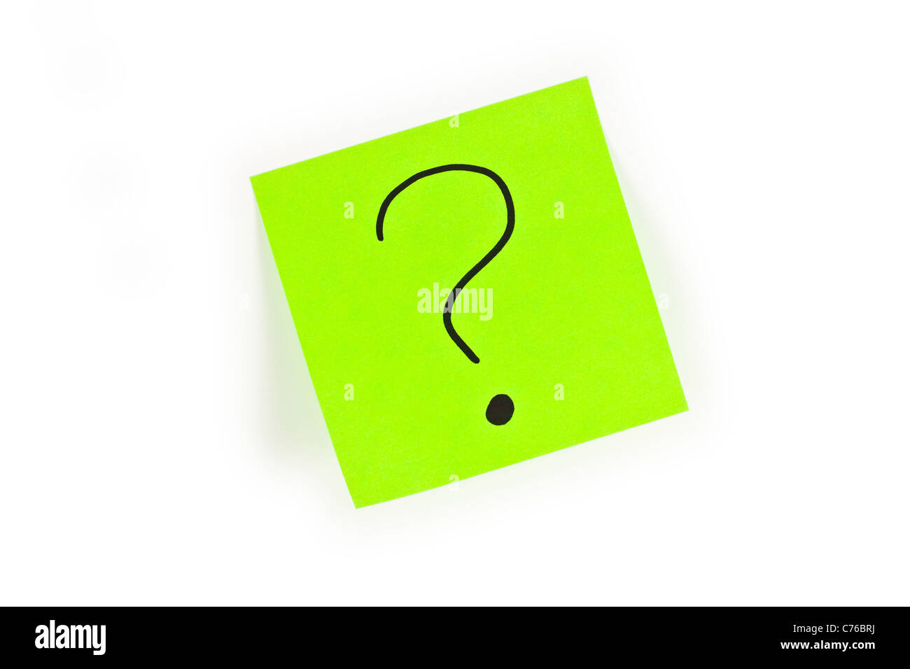 Post-it with a question mark written on it isolated on white Stock Photo