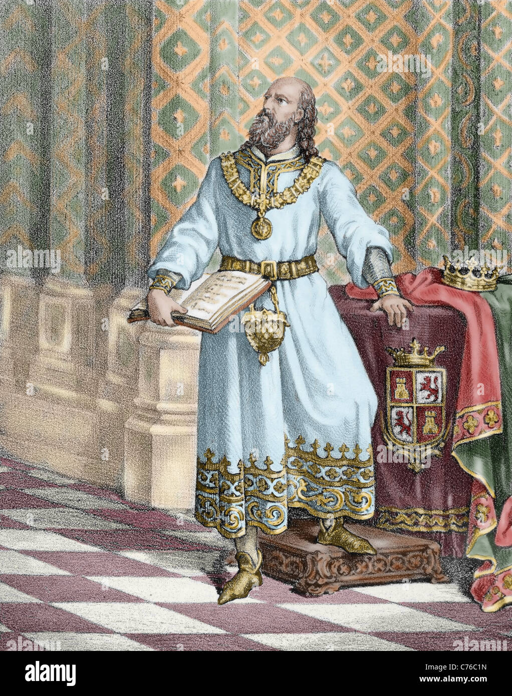 Alfonso X of Castile, called The Wise (1221-1284). King of Castile and Leon (1252-1284). - Stock Image