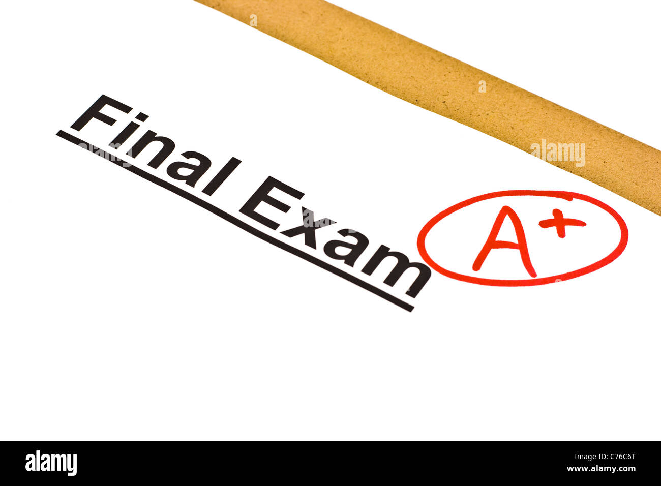Final exam marked with A+ isolated on white - Stock Image
