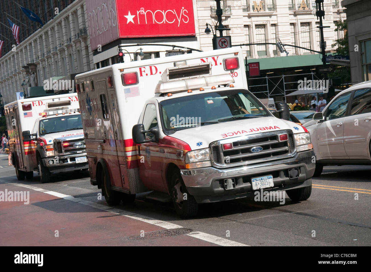 Ambulances on 34th St in New York, USA - Stock Image