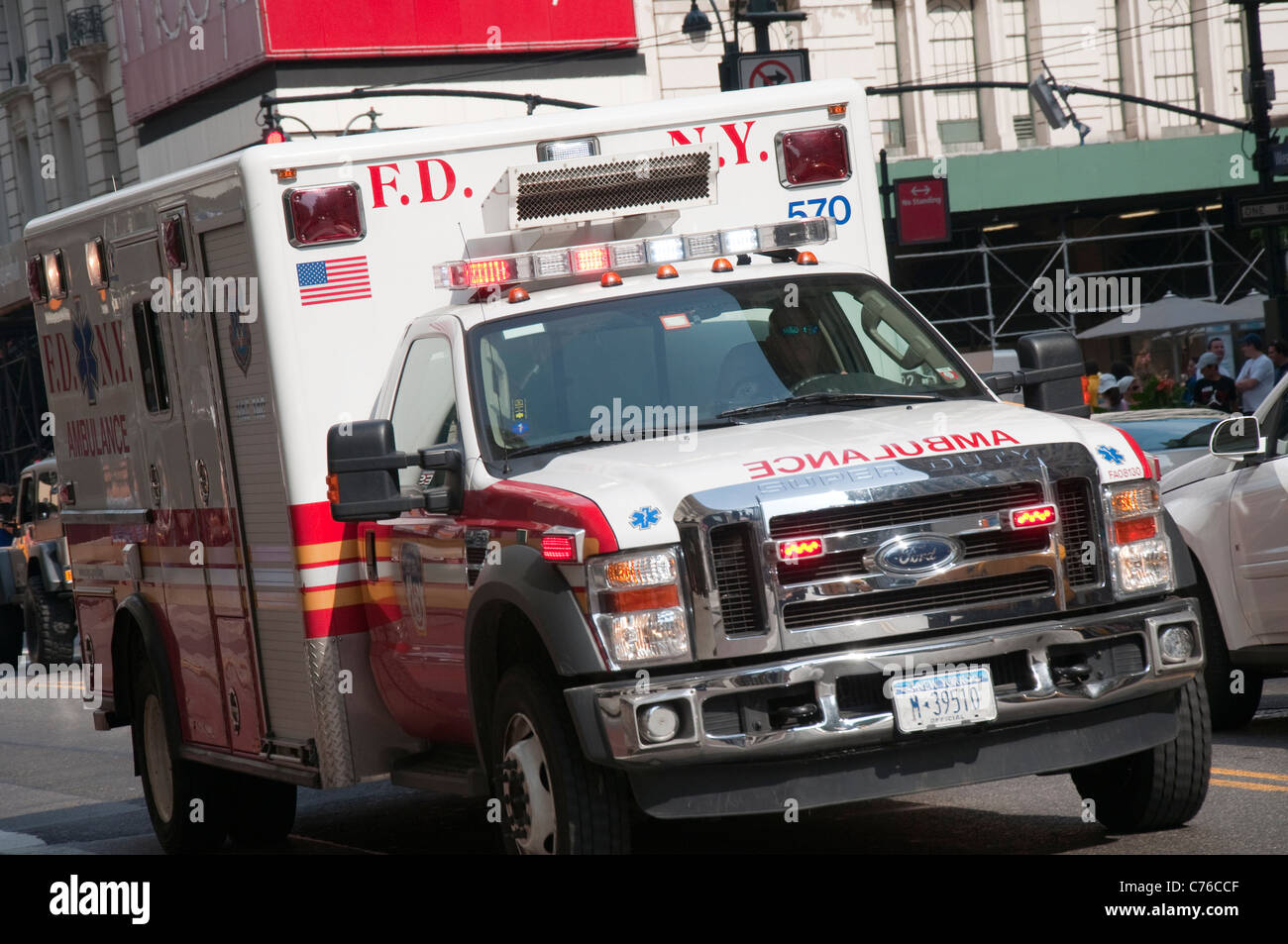 An ambulance on 34th St in New York, USA - Stock Image