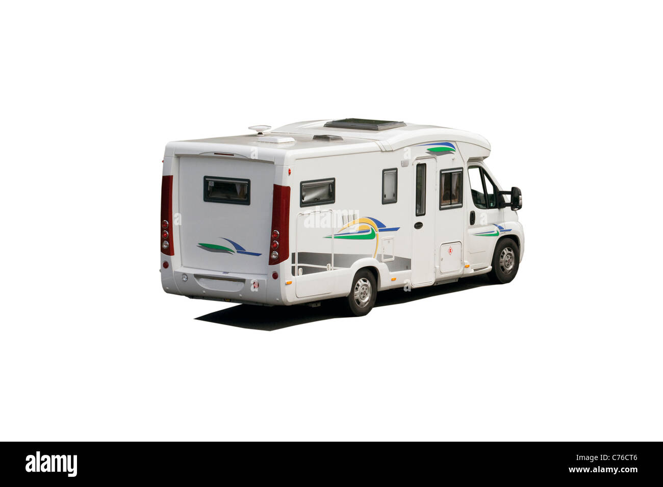 Isolated on white camper van or RV,motorhome - Stock Image