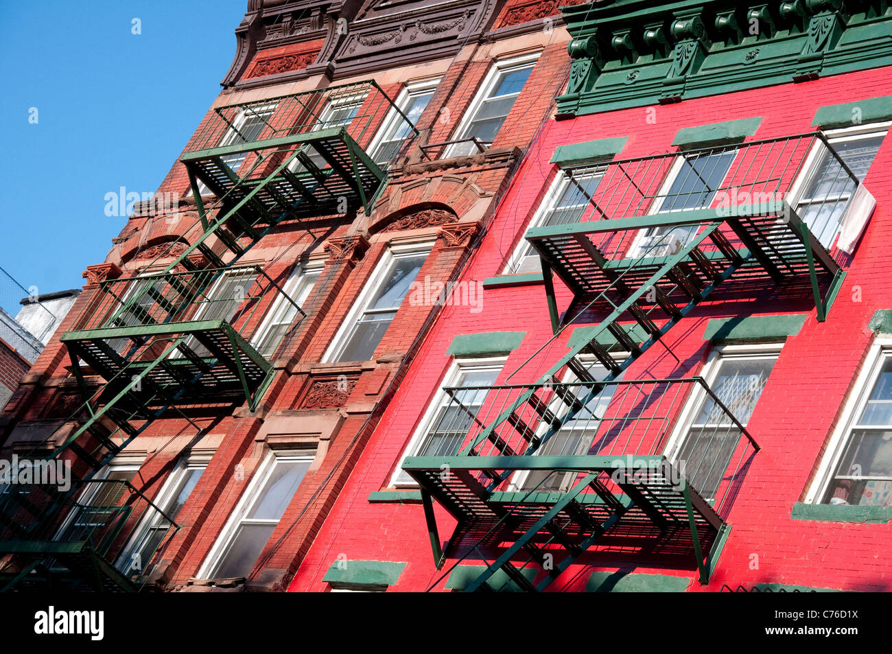 Apartment buildings in Chinatown New York, USA Stock Photo