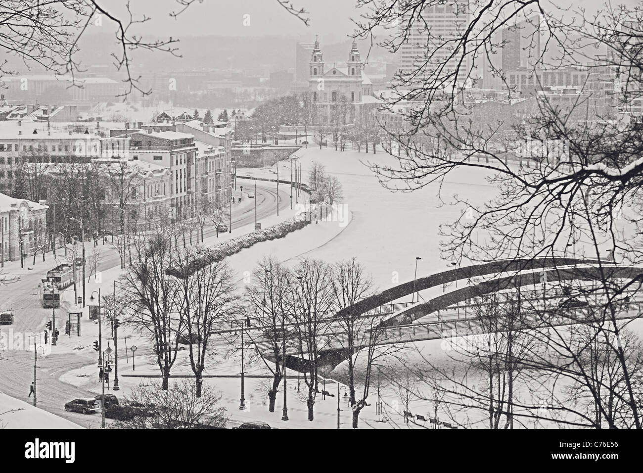 Cityscape  - Snowfall in Vilnius, Lithuania Stock Photo
