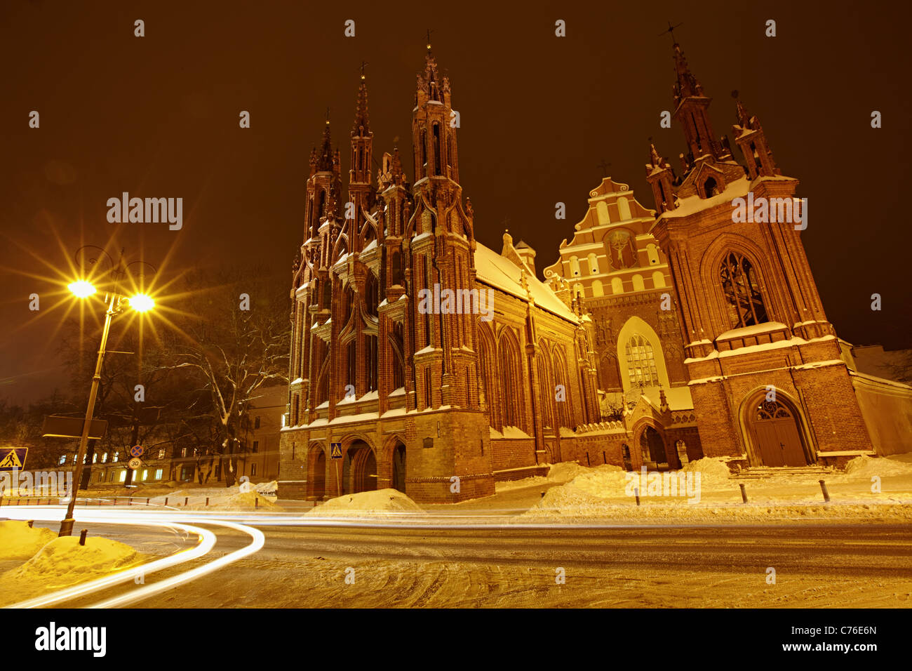 St. Anne's Church in the night, Vilnius Stock Photo