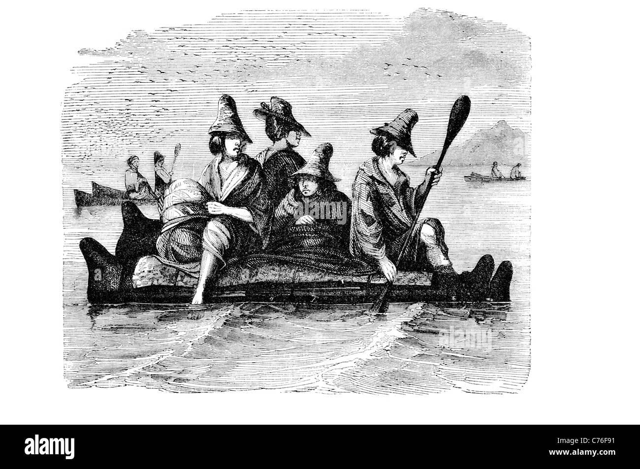 Balsa boat ship pre Columbian South American civilization woven reeds reed Totora bullrush canoe fishing boats ships - Stock Image