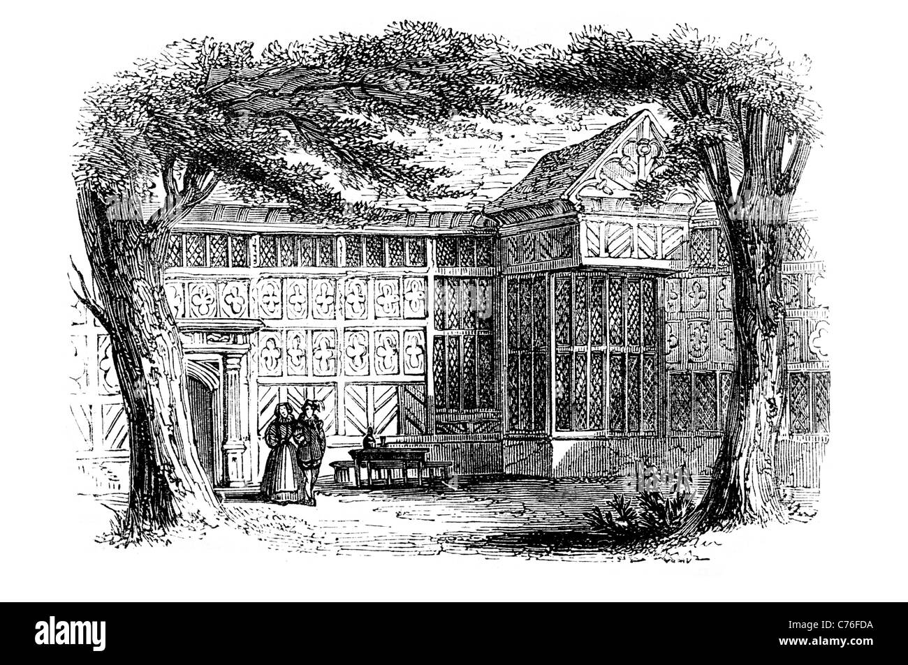 Speke Hall wood framed wattle and daub Tudor manor house Liverpool England finest surviving Great Oak Parlour wing - Stock Image