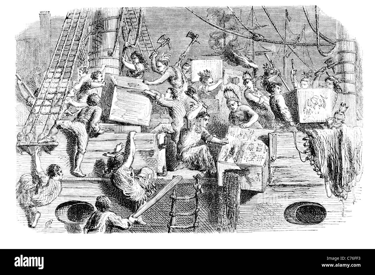 Boston Tea Party colonist colonists British colony Massachusetts government East India Company imported refused - Stock Image