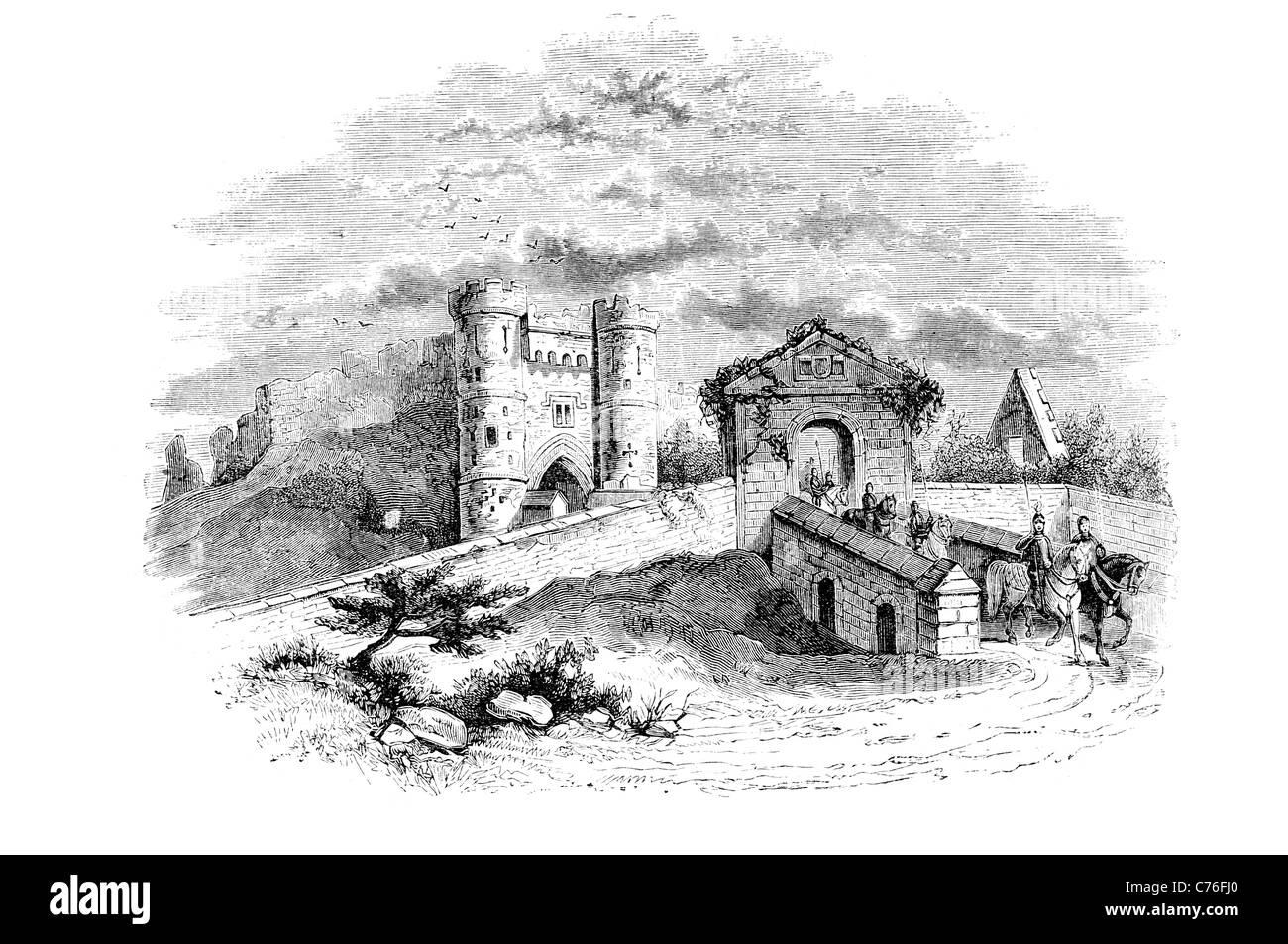 Carisbrooke Castle motte and bailey castle chateau stronghold citadel fastness donjon bastion turret fort battle Stock Photo