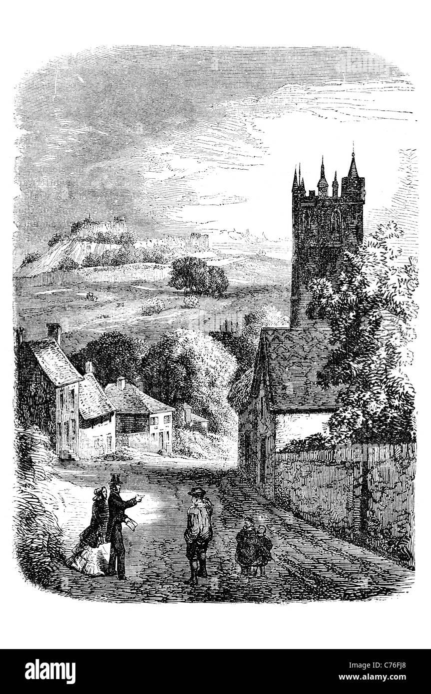 Carisbrooke Castle historic mott bailey village Carisbrooke Newport Isle of Wight England St Mary's Church cottage - Stock Image