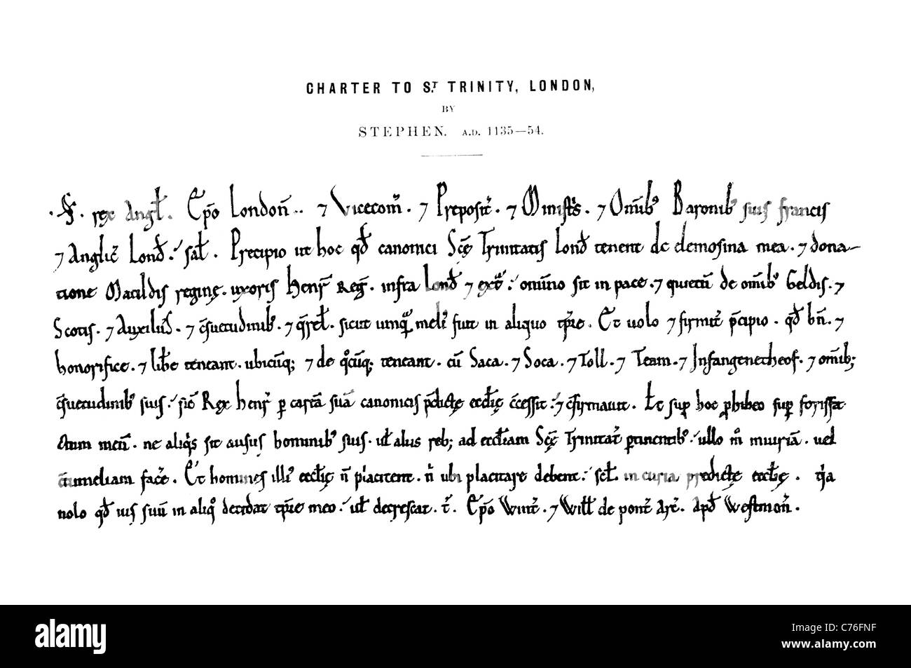 Charter to St Saint Trinity London Letter Document official grant charters historical English language hand writing - Stock Image