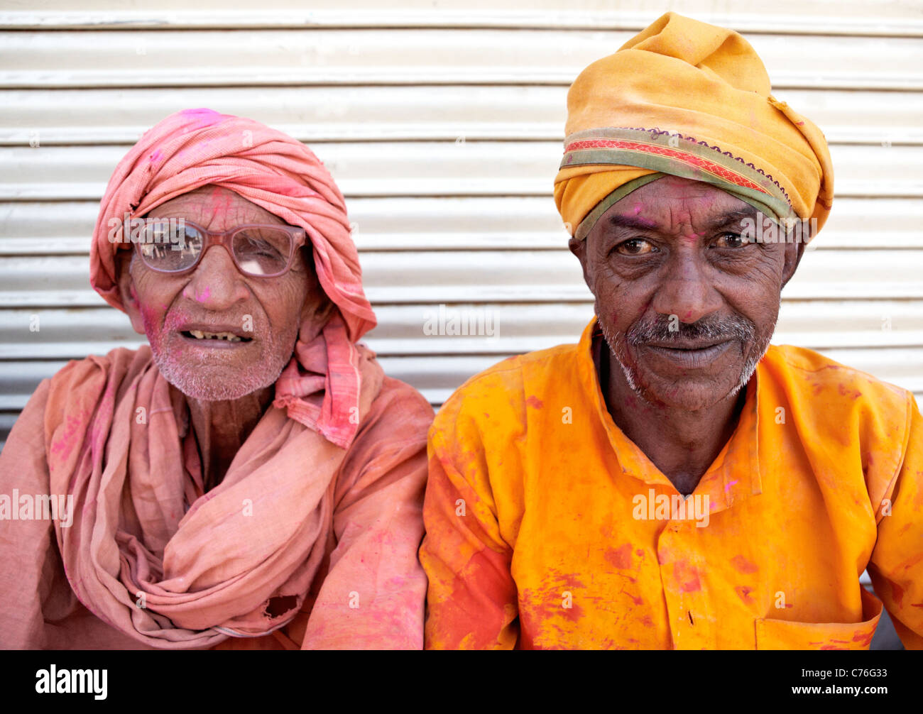 Indian Sadhus  Pushkar Rajasthan India - Stock Image