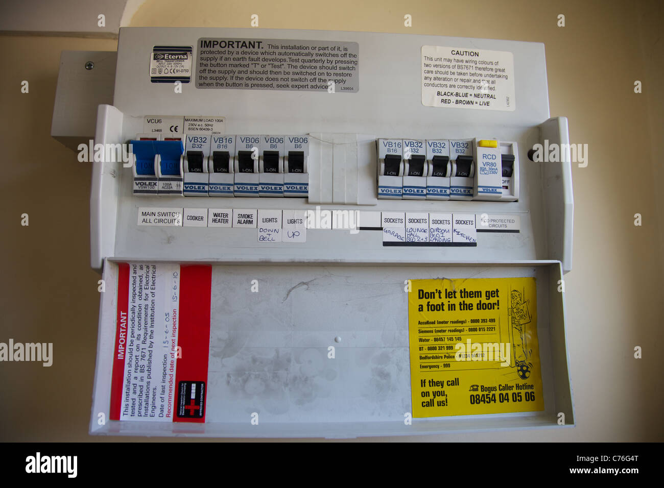 Domestic Fuse Box Stock Photos Images Alamy Black A England Image