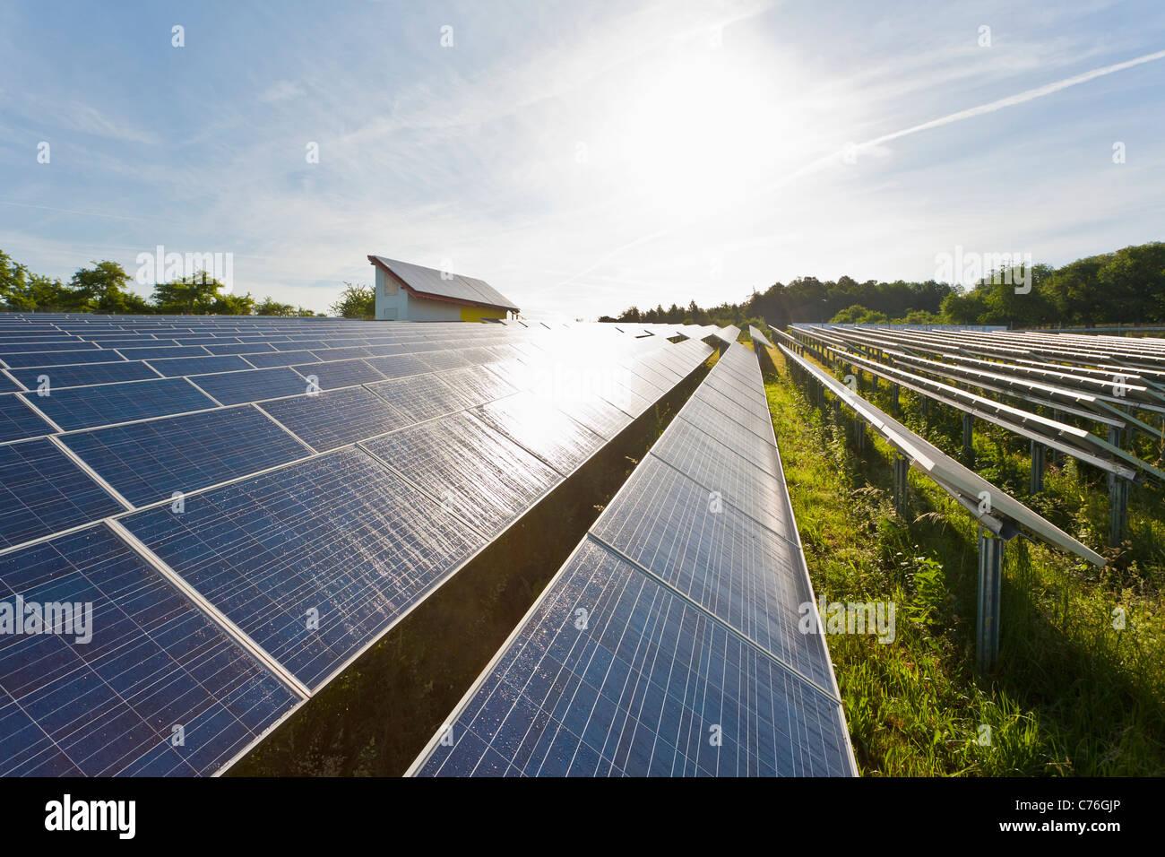 SOLAR PANELS, SOLAR MODULS, SOLAR PARK, PHOTOVOLTAICS, SOLAR ELECTRICITY, NEAR WINNENDEN, BADEN-WURTTEMBERG, GERMANY - Stock Image