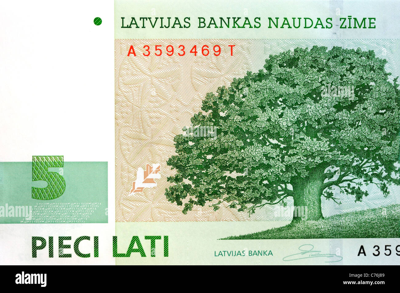 Latvia 5 Five Lati Bank Note. - Stock Image