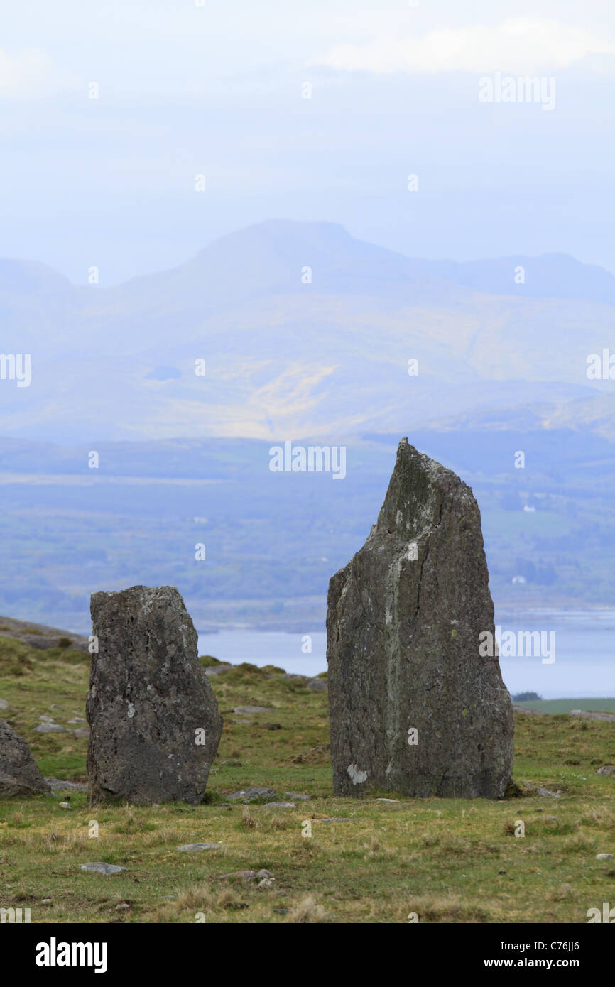 The Cashakeelty Stone Circle & Stone Alignment, Beara Peninsula, Co Kerry, Rep of Ireland - Stock Image