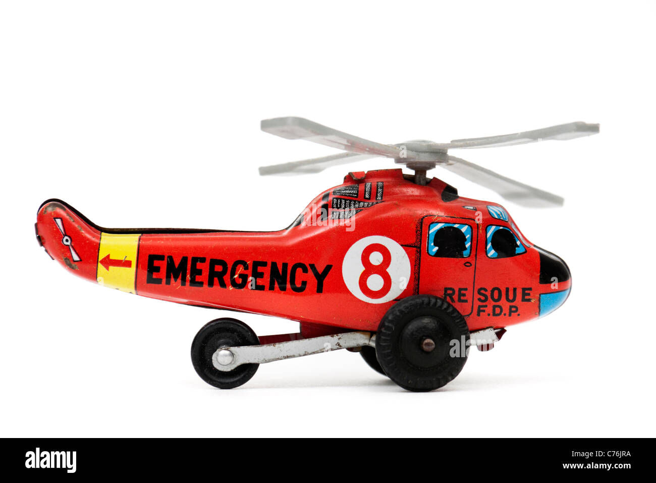 Vintage 1960's Japanese tinplate rescue helicopter toy - Stock Image