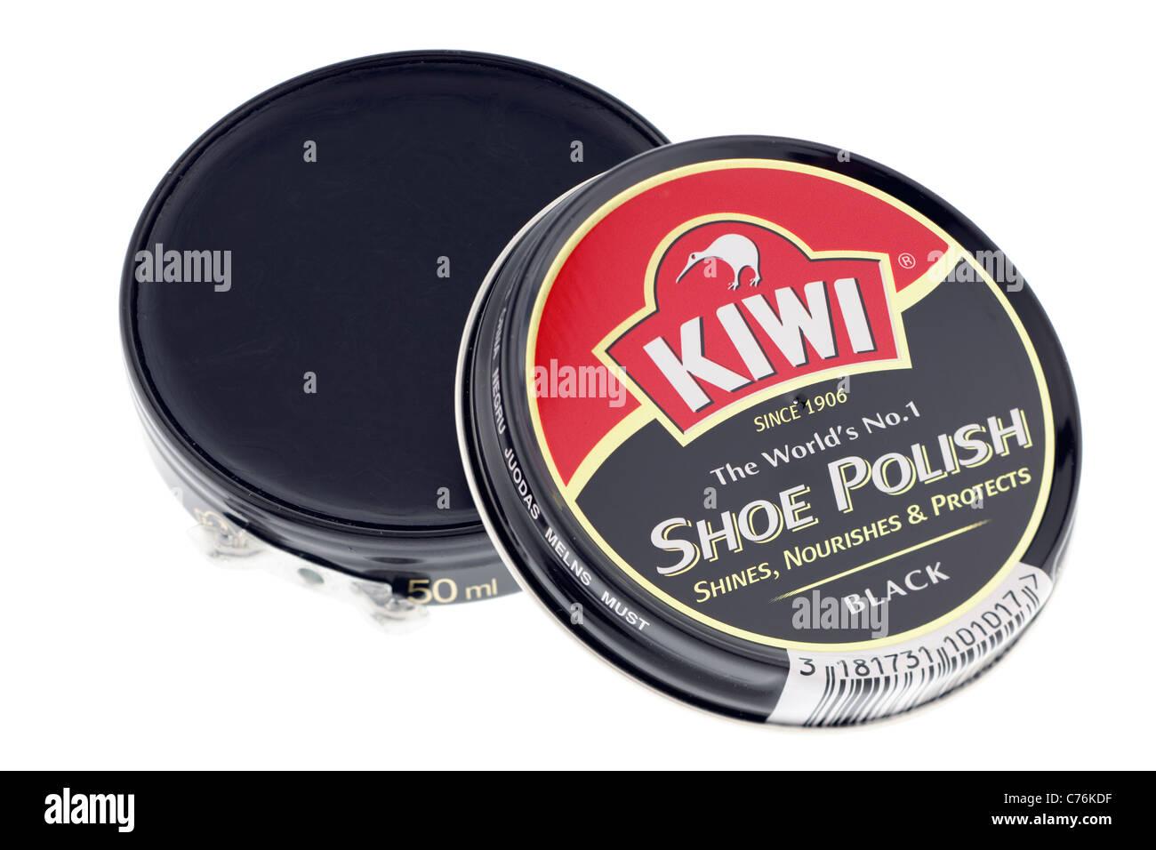 50ml tin of black Kiwi shoe polish - Stock Image