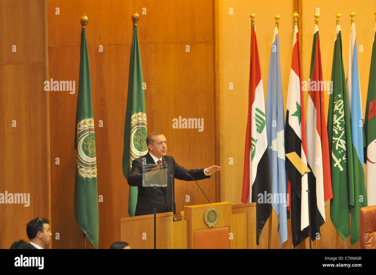 Turkish PM Erdogan addresses the Arab League during his visit to Egypt where he also met with Egypt's Military - Stock Image