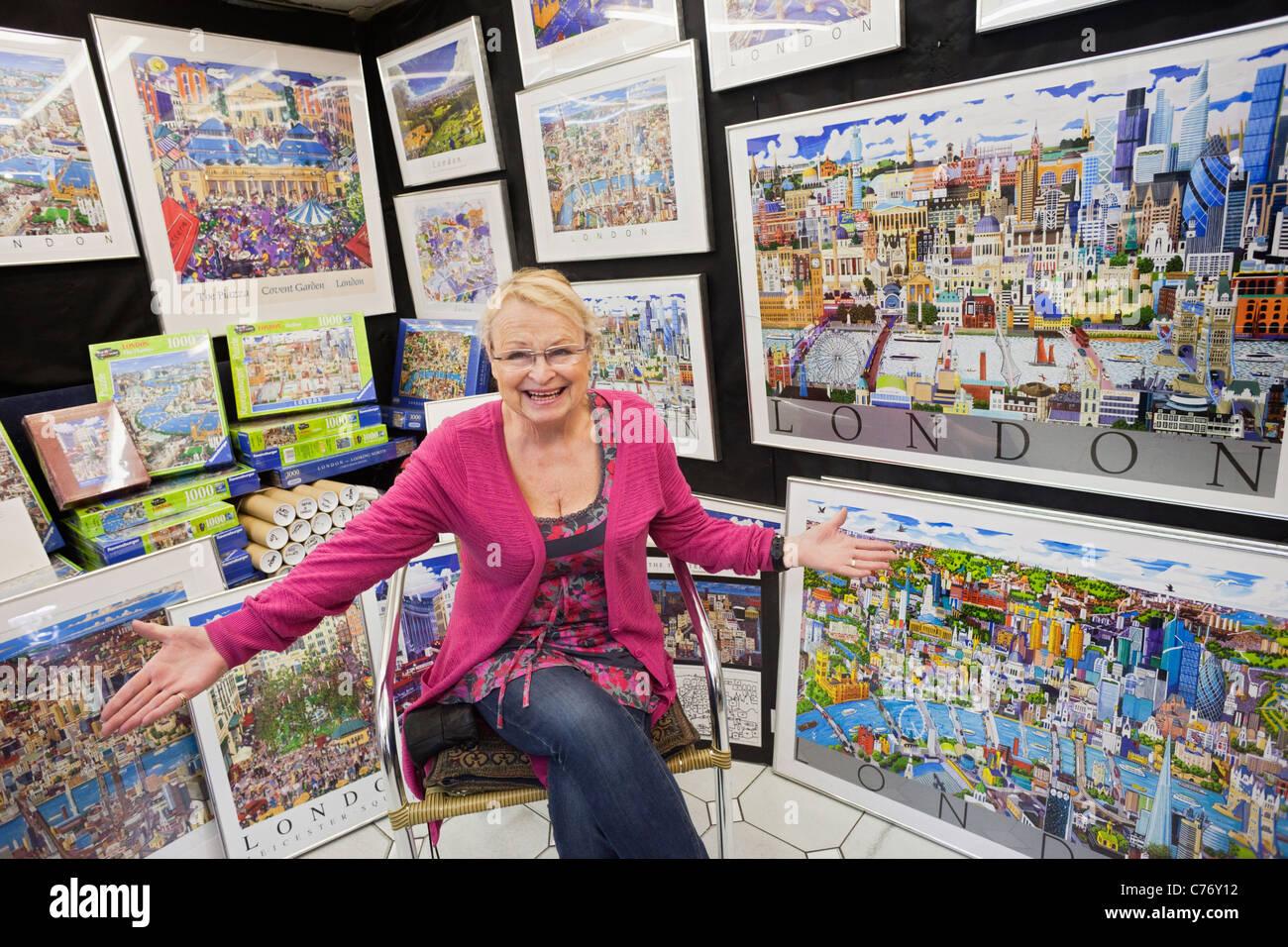 England, London, Covent Garden, Jubilee Market, Poster Shop Stock ...
